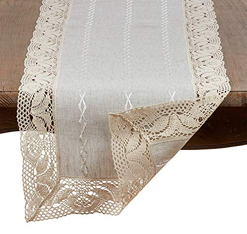 Fennco Styles Elegant Embroidered Lace Natural Table Linen Collection
