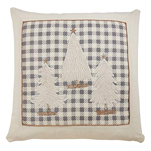 Fennco Styles Applique Trees 18 Inch Square Pure Cotton Decorative Throw Pillow – Holiday Cushion for Couch, Sofa, Bedroom, Office and Living Room Décor