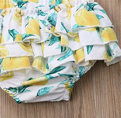 Infant Baby Girls Ruffle Design Printed Bloomers Diaper Cover with Headband 2pcs Set