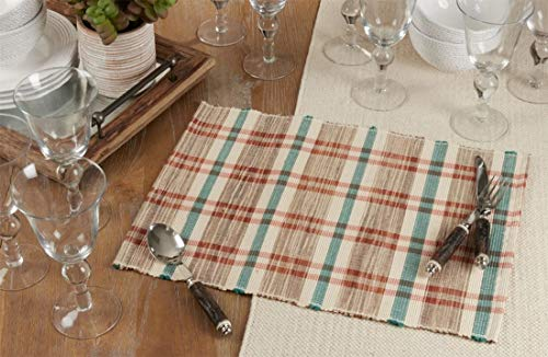 Fennco Styles Plaid Woven Water Hyacinth Placemats 14 x 20 Inch, Set of 4 - Classic Plaid Table Mats for Christmas, Home Decor, Banquet, Family Gathering and Special Occasion
