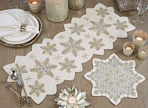 Fennco Styles Exquisite Hand Beaded Christmas Snowflake Table Runner 13 x 35 Inch - White Table Cover for Holiday, Home Décor, Banquets and Special Occasion