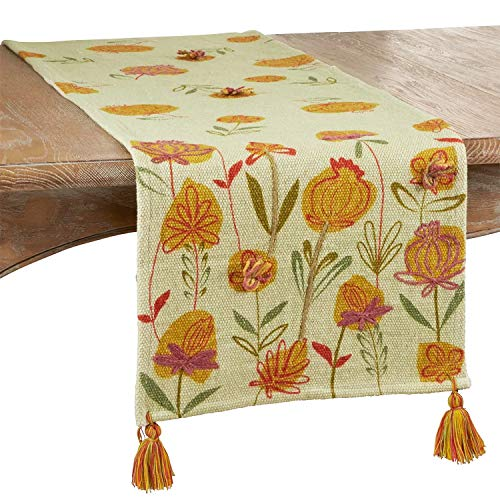 "Fennco Styles Embroidered Garden Flower Pure Cotton Table Runner 16"" W x 72"" L"