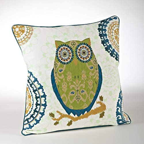 Fennco Styles Modern Embroidered Owl 100% Pure Cotton 20 x 20 Inch Throw Pillow with Case & Insert