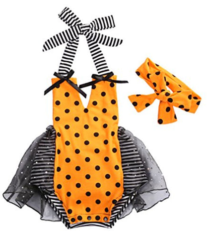 stylesilove Baby Girl Halloween Pumpkin Costume Bodysuit Tutu Skirt