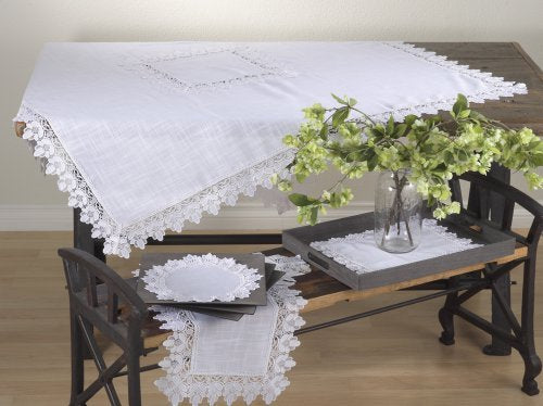 Fennco Styles Venetto Lace Trimmed Elegant Tablecloth