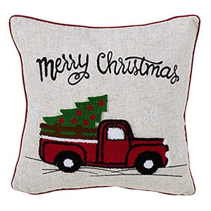 Fennco Styles Holiday Vintage Red Truck Decorative Down-Filled Throw Pillow 16-Inch Square