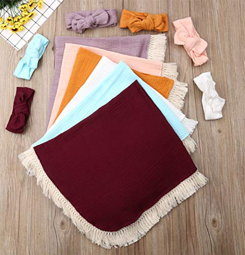 StylesILove Newborn Infant Baby Girl Solid Color Cotton Muslin Lightweight Wrap Soft Swaddle Blanket with Tassel Design and Matching Headband 2pcs