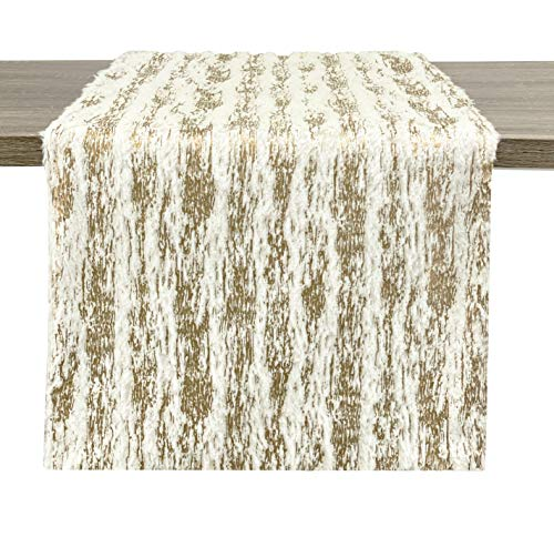 Fennco Styles Contemporary Brushed Foil Faux Fur Table Runner 16 x 72 Inch - Metallic Table Cover for Christmas Decor, Home, Banquet, Family Gathering, Special Occasion and Everyday Use