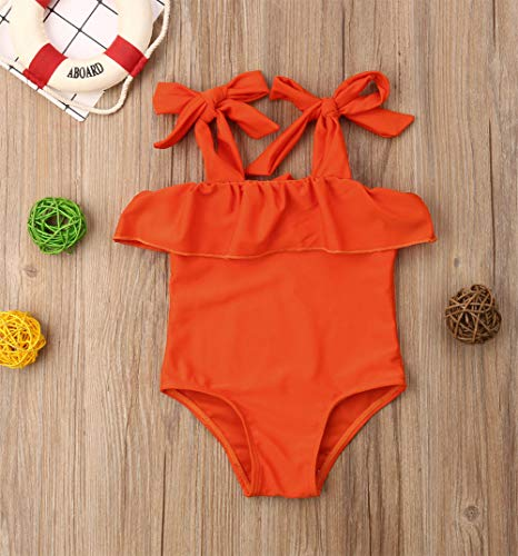 Styles I Love Baby Toddler Girls Ruffle Orange One-Piece Swimsuit Bathing Suit Beach Swimwear
