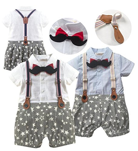 stylesilove Infant Toddler 3D Mustard Bowtie Star Pattern Stylish Tuxedo Baby Boy Romper