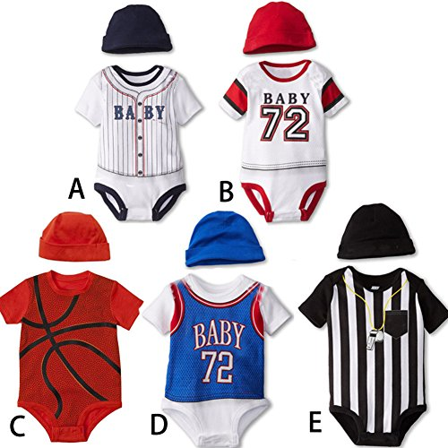 stylesilove Infant Toddler Baby Sport Short Sleeve Romper with Hat 2-PC Set