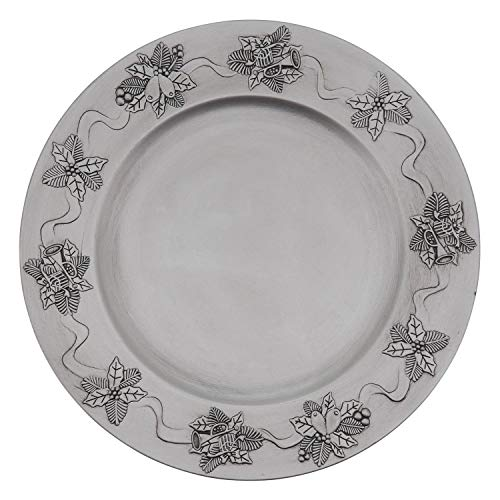 "Fennco Styles Festive Holly Berry Design Decorative Charger Plates 13"" Round, Set of 4 – Silver Charger Plates for Banquets"