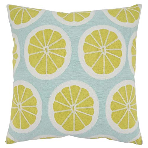 Fennco Styles Embroidered Lemon Cotton Decorative Throw Pillow 18 x 18 Inch - Yellow Accent Cushion for Home, Couch, Living Room, Office and Everyday Décor