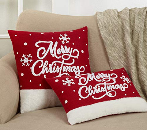 Fennco Styles Embroidered Merry Christmas Snowflake Pillow