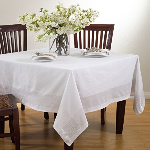 Fennco Styles Splendid Shimmering Striped Tablecloth - White Table Cover for Home Everyday Use, Banquets, Family Gathering and Special Events