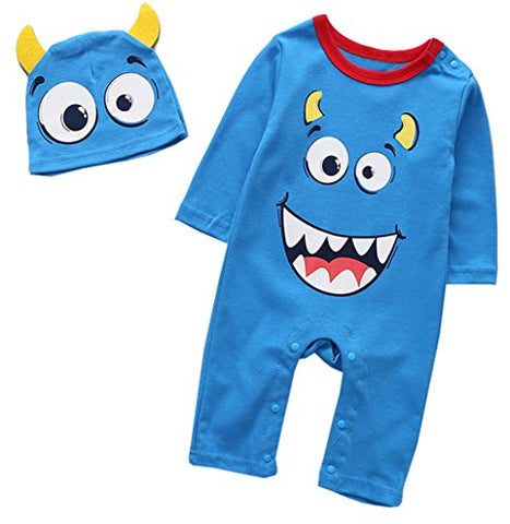 stylesilove Little Monster Baby Boy Cotton Long Sleeve Halloween Costume Romper and Hat 2pcs Outfit