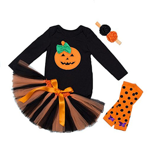 stylesilove Halloween Pumpkin 5 pcs Baby Infant Toddlers Girls Costume Dress Clothing Set
