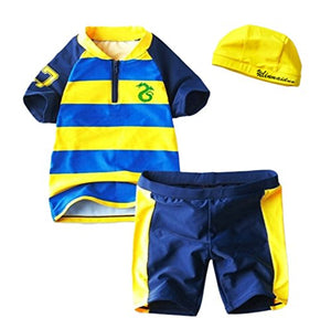 Styles I Love Little Dragon Striped Rash Guard 3-Piece Boy Swim Set (6) Yellow