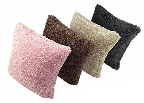 Fennco Styles Super Soft Plush Solid Faux Fur Decorative Throw Pillow Cover, 18-inch Square