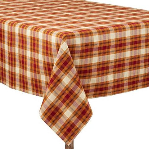 "Fennco Styles Harvest Plaid Design 100% Cotton Tablecloth 70"" W x 70"" L - Autumn Rust Table Cover for Home, Dining Table Decor, Banquet, Thanksgiving and Special Event"