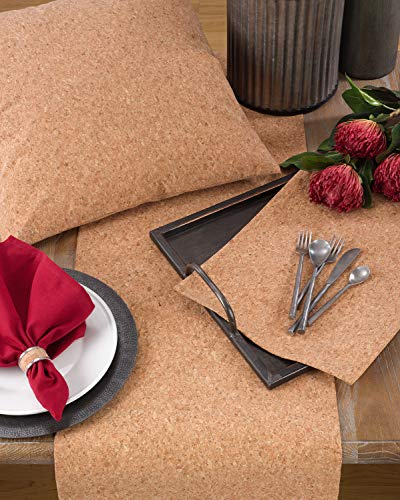 "Fennco Styles Unique Cork and Poly Blend Design Placemats 13"" W x 19'L, Set of 4"