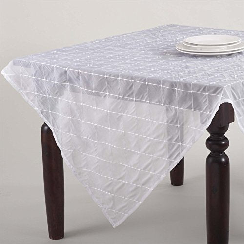 "Fennco Styles La Belle Epoque Stitched Sheer Tablecloth, 5 Colors (White, 84""x84"")"