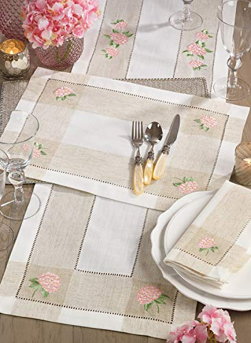 Fennco Styles Hommage Brodé Collection Cottage Embroidery Hemstitch Border Placemats 14 x 19 Inch, Set of 4 – Ivory Table Mats for Wedding, Banquet, Tea Party and Home Décor