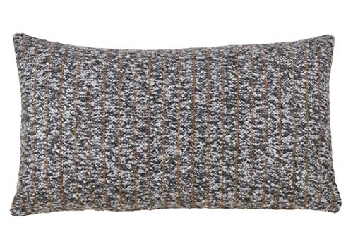 Fennco Styles Striped Tweed Decorative Throw Pillow – Grey Cushion for Couch, Sofa, Bedroom, Office and Living Room Décor