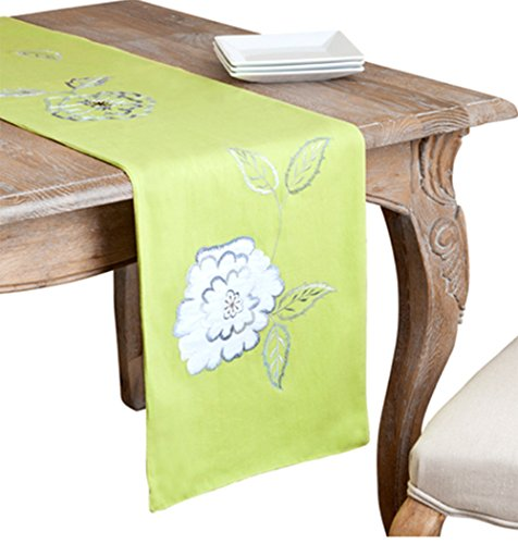Pastel Lime Embroiderd Flower Cotton Table Runner