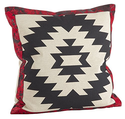 Fennco Styles Red & Black Cowhide Down Filled Pillow