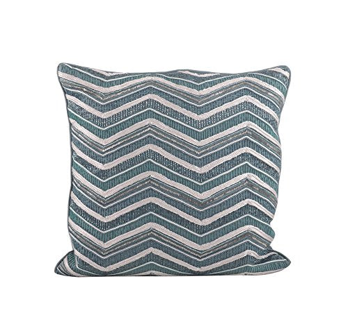 Fennco Styles Hand Beaded Bellissima Zigzag Down Filled Throw Pillow, 17-inch Square