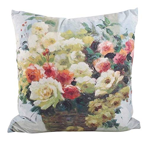 Fennco Syles Floral Design Down Filled Indoor Outdoor Decorative Throw Pillow, 18-inch Square