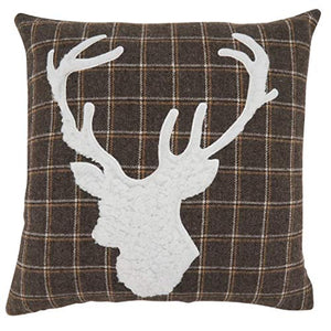 "Fennco Styles Brown Lodge Plaid Reindeer Decorative Throw Pillow 18""W x 18""L"