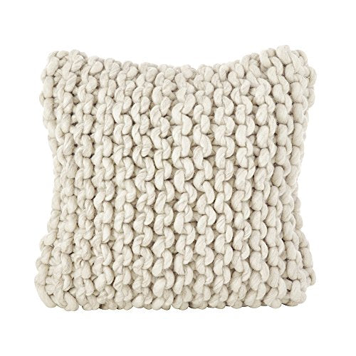 "Fennco Styles Chunky Cable Knit Premium 100% Wool Woven Decorative Throw Pillow - Ivory 18"" Square Cushion for Couch, Bedroom and Living Room Décor"