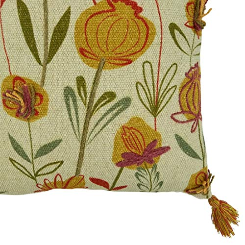 Fennco Styles Embroidered Wild Flowers with Tassel 100% Cotton Decorative Throw Pillow – Floral Texture Cushion for Couch, Sofa, Bedroom, Office and Living Room Décor