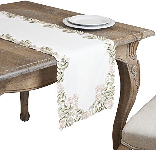 "Fennco Styles Monique Embroidered and Cutwork Floral Ivory Decorative Table Runner 16"" W x 72"" L"