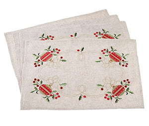 "Fennco Styles Embroidered Ornament Design Christmas Holiday Linen Blend Table Placemat (14""x20"" Placemat-Set of 4)"