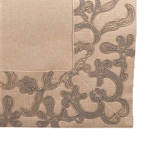 Fennco Styles Alannah Collection Classic Embroidered Floral Border - Natural Table Linens for Banquets, Family Gathering, Special Events and Home Décor
