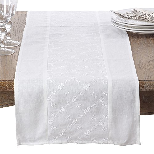 Fennco Styles Embroidered Floral Design 100% Linen Table Runner 16 x 72 Inch - White Table Cover for Home Decor, Dining Room, Banquets, Everyday Use and Special Occasions