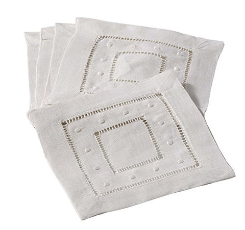 Hand Hemstitched and Embroidered Swiss Dot Coasters Cocktail Napkins, 6-piece Set (ecru)