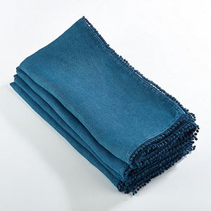 Fennco Styles Pomponin Collection Pom Pom Design Dinner Napkins 100% Linen - Set of 4 (Ocean Blue)