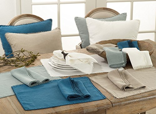 Fennco Styles Pomponin Collection Pom Pom Design Placemats 100% Linen - Set of 4 (Ocean Blue)
