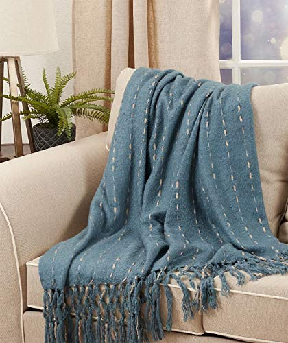 "Fennco Styles Faux Mohair with Hand-Knotted Design Throw Blanket 50"" W x 60"" L – Cozy Woven Blanket for Couch, Bedroom and Living Room Décor"