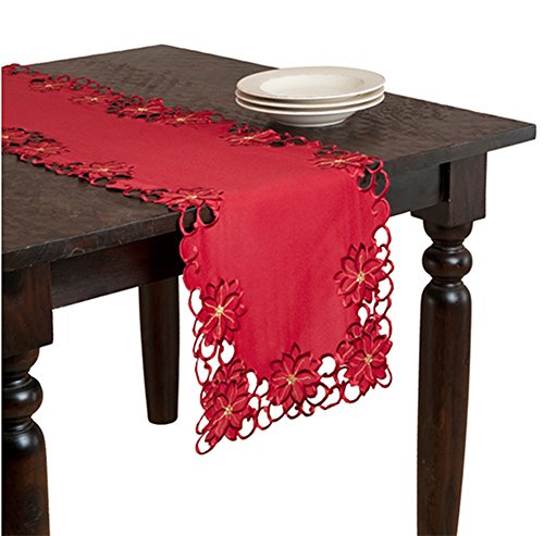 "Fennco Styles Holiday Christmas Embroidered and Cutwork Red Table Runner. 16""x72"" Rectangular. One Piece"