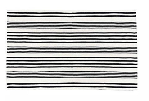 Fennco Styles Woven Ticking Striped Area Rug - Cotton Blend Carpet for Indoor Outdoor Floor Mat for Living Room, Entryway, Bedroom and Floor Décor
