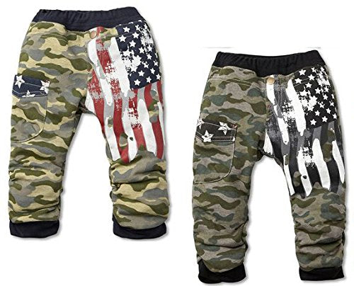 stylesilove Baby Boy Camouflage American Flag Cotton Pants