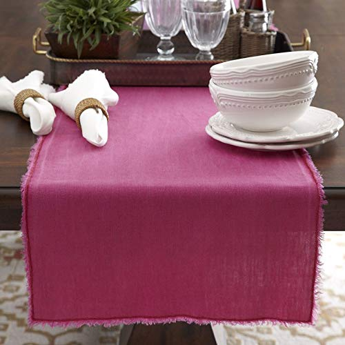 "Fennco Styles Graciella Fringed Stone Washed Design Table Runner - 16""x72"" - 9 Colors (Fuchsia)"