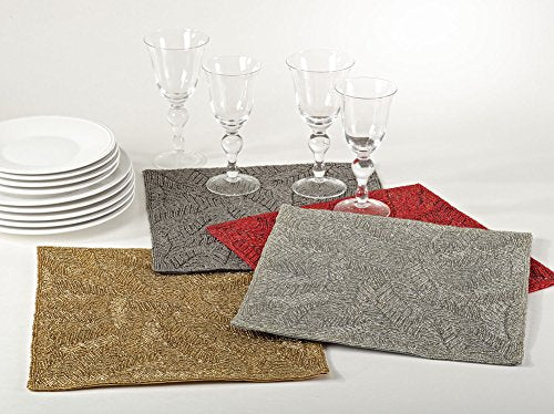 Fennco Styles Ravello Handmade Beaded Design 15-inch Square Placemat - 1-Piece
