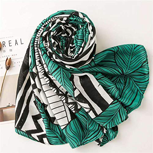 StylesILove Women Girls Green Leaf Geometric Print Oblong Scarf Lightweight Autumn Wrap Shawl