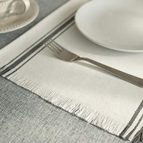 Fennco Styles Netural Stripes Fringe Canvas Cotton Table Linen Collection
